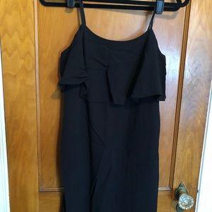 J. Crew black ruffle tank mini dress